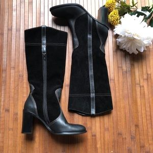 Franco Sarto Leather and Suede Black Boots Size 7